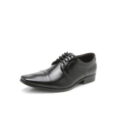 Sapato Social Couro Democrata Cadarço Preto Democrata 450052-001 masculino