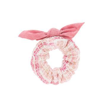 Scrunchie tecido listrado detalhe laço veludo Rosa