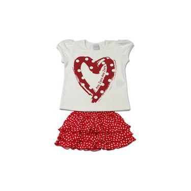 Conjunto Infantil Cotton e Viscolycra Bolinhas Coração - Vermelho