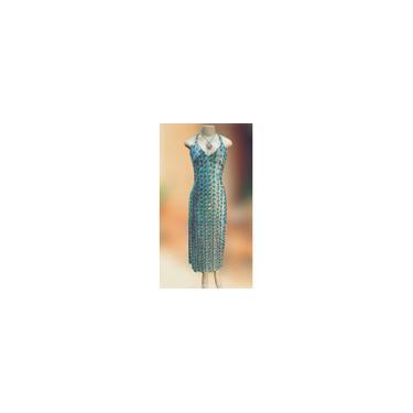 Imagem de Vestido Longo Festa Indiano, Em Tule Bordado Com Paetê, Azul Ciano/Dourado
