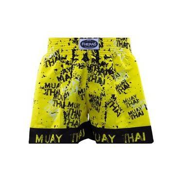 Shorts Boxe Muay Thai Fheras Training Grafite Amarelo M