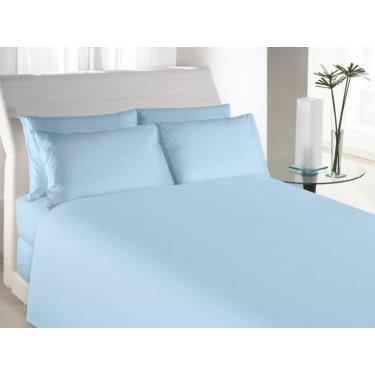 Imagem de Kit Jogo de lençol Casal Queen 4 peças Algodão Azul