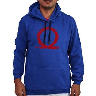Agasalho Flanelado Capuz Unissex God Of War 4 Kratos Gamer Cor:Azul;Tamanho:M