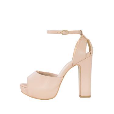 Sandália Salto Grosso Week Shoes Meia Pata New Pele Nude  feminino