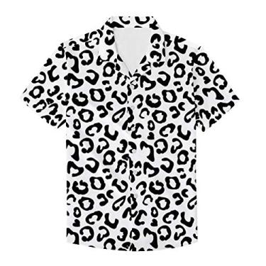 PinUp Angel Camiseta masculina havaiana de manga curta com estampa de bolinhas de leopardo e botões, Oncinha branco, XL