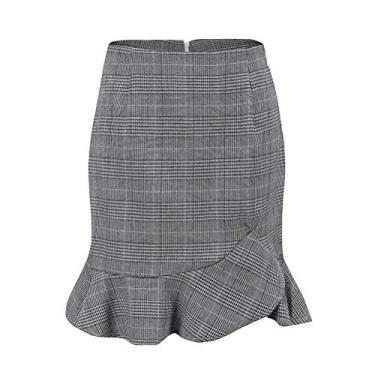 SOIMISS Moda Saias com babados no verão feminino Saia alta cintura curta Saia assimétrica com babados em camadas - tamanho L (cinza)