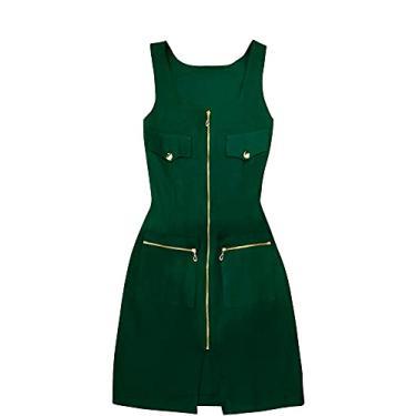Imagem de Vestido de Linho Yasmim Midi Verde Folha com Zíperes e Botões Dourados Tamanho:M