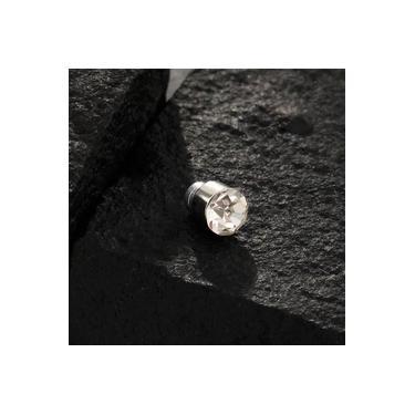 Piercing em aço inox para orelha com ima e pedra cristal