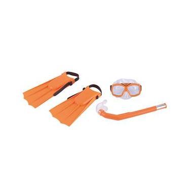 Conjunto para Mergulho Infantil Nautika Divers com 2 Nadadeira 1 Máscara 1 Respirador 1 Bolsa - Laranja