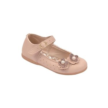 Sapatilha Boneca Infantil Menina Flores Glitter Marfim