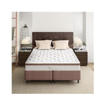 Cama Box Queen Size + Colchão Herval Capri Pillow Inn e Molas Ensacadas 64x158x198cm