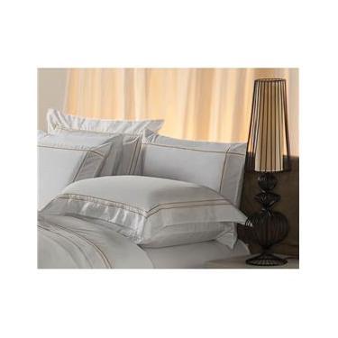 Imagem de Fronha Premium Har Plumasul 230 fios 50x90 cm – Branco com Bordado Dourado