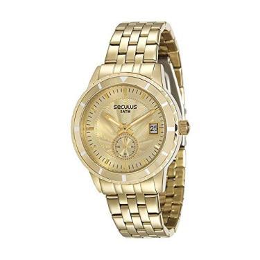 ab1de5ce1d5 Relógio Seculus Feminino Analógico com Calendário Dourado 28708LPSVDS4