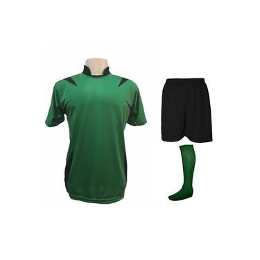Uniforme Esportivo Completo modelo Palermo 14+1 (14 camisas Verde/Preto + 14 calções Madrid Preto + 14 pares de meiões Verde + 1 conjunto de goleiro) +