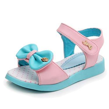 Imagem de UBELLA Sandália feminina com laço e bico aberto, sandália de princesa para verão (Bebê/Criança pequena), Azul, 3 Little Kid