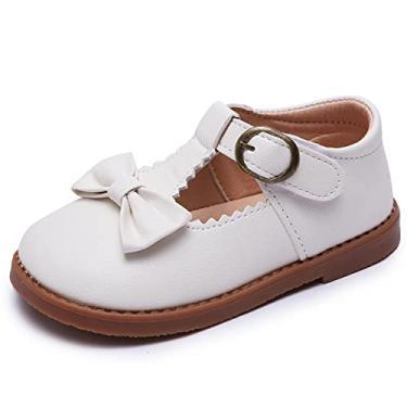 Imagem de Minibella Sapato social Grils Bowknot com tira em T Oxford Mary Jane uniforme escolar princesa festa de casamento, Branco, 6 Toddler