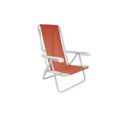 Cadeira De Praia Aço Reclinável 8 Posições Coral Mor