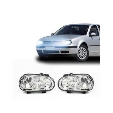 Farol Volkswagen Golf 1999 a 2004 Arteb Principal Máscara Cromada Foco Duplo Encaixe H1 H7 com Motor