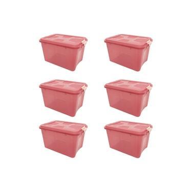 Kit Com 6 Caixas Organizadoras Com Tampa e Trava 12 litros - Rosa UP House