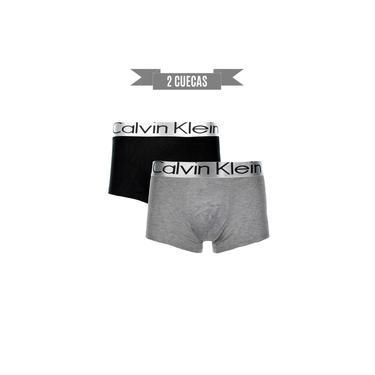 Kit 2 cuecas Calvin Klein Trunk/Boxer Preta e Cinza elastano - GG