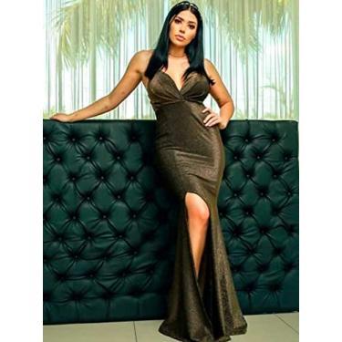 Vestido Limone com fenda lateral Dourado/M - NUM. 40