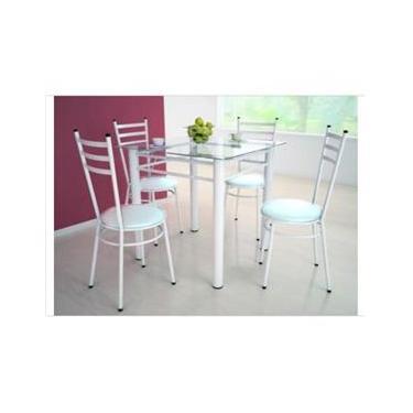 Jogo de Mesa Tulipa Branco com 4 Cadeiras com Assento Corino Branco - Marcheli