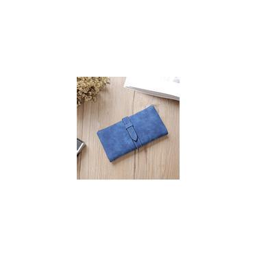 Dois slots de cartão múltiplo feminino de design dobrado bolsa longa carteira flexível pu