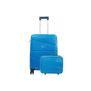 Conjunto Mala Viagem Rigida polipropileno Pequena Azul + Frasqueira Polo King MF10156PK