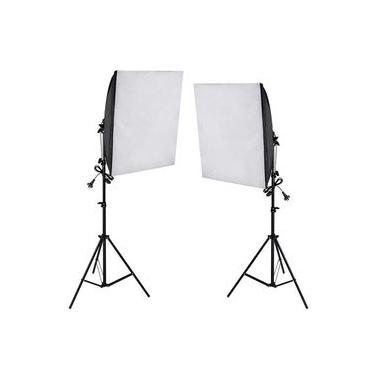 Kit Iluminação Estúdio 02 Softbox E27 60x60cm com Tripé