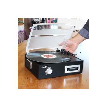Vitrola Toca Discos de Vinil e Fita Cassete K7 com Conversor Digital e Alto Falantes Uitech
