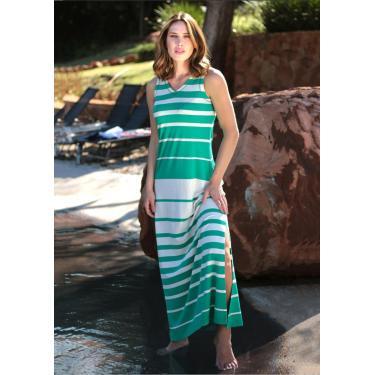 Vestido Pau A Pique Longo Listrado Turquesa Verde - P