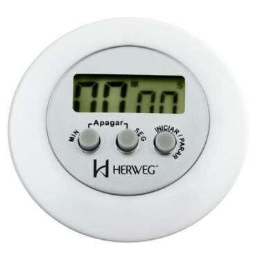 Cronômetro 3308 Digital Progressivo Regressivo Branco Herweg