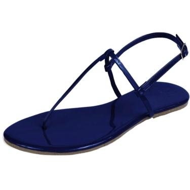 Rasteira Mercedita Shoes Verniz Azul-Marinho  feminino