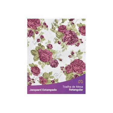 Imagem de Toalha De Mesa Retangular Em Tecido Jacquard Estampado Floral Vermelho