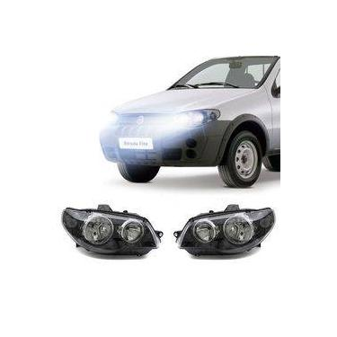 Farol Fiat Strada 2005 A 2008 Arteb Principal Máscara Negra Canhão Cromado Foco Duplo Encaixe H3 H7