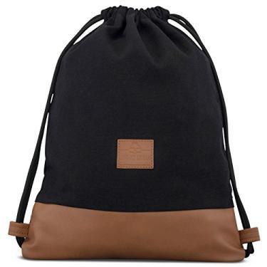 Bolsa de Algodão com Cordão – Bolsa de Gymsack Masculina e Feminina JOHNNY URBAN Canvas, Black /Brown, One Size