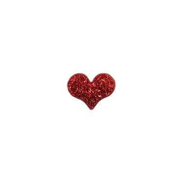 Presilha de Cabelo Coração Vermelho com Canutilho