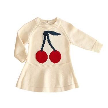 SOIMISS Bebê Kids Sweater Saia Big Cherry Pattern Vestido macio e confortável Pullover Saia manga comprida roupa feminina (bege, 66 cm)