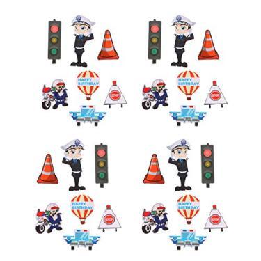 Imagem de 35 peças da Polícia de Trânsito com tema Bolo Topper de Bolo Escolhe Materiais de Festa de Decoração de Cupcake para Festival de Aniversário de Casamento (7 peças de Polícia de Trânsito x 5)
