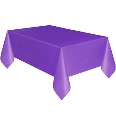 Imagem de MuYiYi11 Toalha de mesa retangular - 137 x 183 cm - Toalha de mesa de plástico ótima para mesa de bufê, festas, jantares de férias, casamento roxo