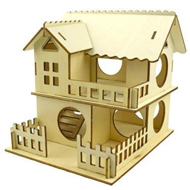 Imagem de luning Casa para hamsters de madeira natural – Escale e Esconde para animais de estimação, tédio, disjuntor, gaiola, esconderijo e Gnawer para pequenos animais, hamsters, gerbils portáteis