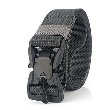 Cinto de nylon Funien para acampamento – Cinto ajustável masculino e feminino com fivela magnética de liberação rápida para acampamento e caminhada (cinza)