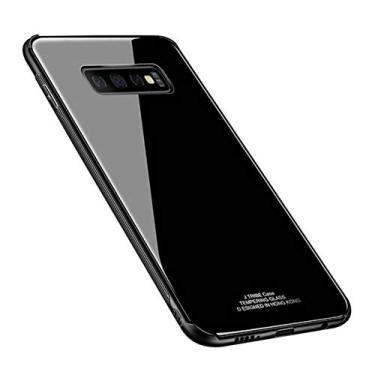 Kepuch Quartz Case Capas TPU &Voltar (Vidro Temperado) para Samsung Galaxy S10 Plus - Preto