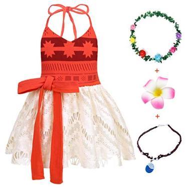 Imagem de Fantasia de Natal AmzBarley para festa de aniversário de meninas vestir roupas de Halloween com 3 peças acessórios tamanho vermelho 140 por 5-6 anos