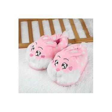 pantufa infantil criança fluff pelúcia veludo macio quente e antiderrapante pantufas bonito chinelos 3D coelho animal tridimensional sapatos de fundo grosso em casa doméstico
