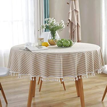 Imagem de Toalha de mesa redonda de linho de algodão de 80 cm, jogos de toalha de mesa para sala de jantar, capa de mesa listrada, capa de mesa de poliéster à prova de poeira e borla lisa