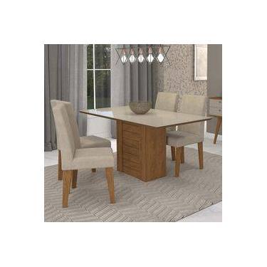 e847c692a Conjunto Sala de Jantar Mesa Rafaela Retângular 4 Cadeiras Milena Cimol  Savana Branco Off