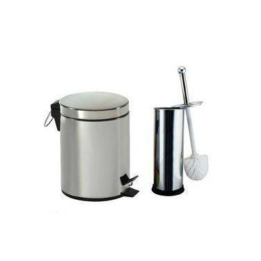 Kit Lixeira Inox Banheiro Cozinha Pedal E Balde 3 Litros + Escova Sanitária