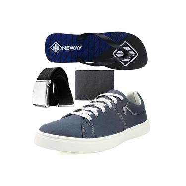 Kit Sapatenis Casual Neway SW Masculino Cinza + 1 Cinto + 1 Chinelo Neway + 1 Carteira
