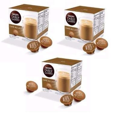 Nescafé Dolce Gusto AU LAIT Café Com Leite Kit com 03 CAIXAS Total 48 Cápsulas